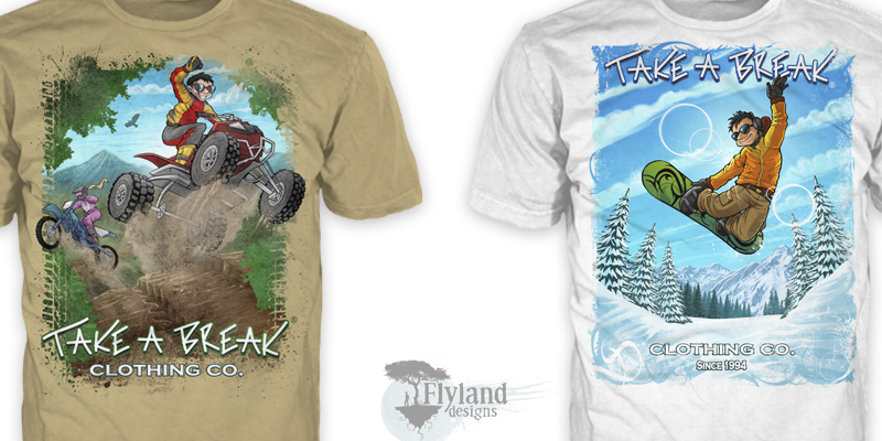 T-Shirt illustrations of a young man snowboarding and riding a dirtbike