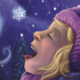 Book cover illustration of a young girl catching a snowflake on her tongue.