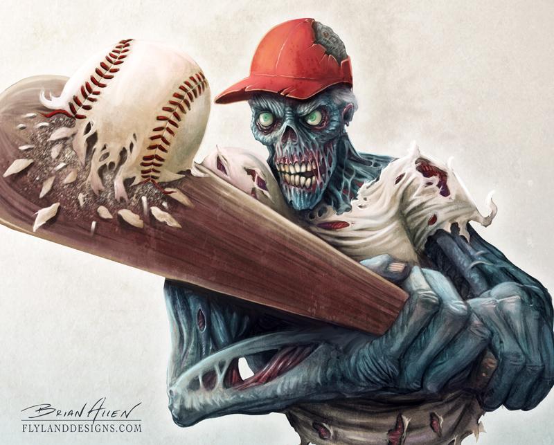 Zombie Baseball Flyland Designs Freelance Illustration