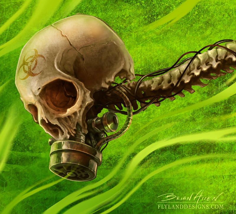 Skull and spinal cord with gasmask for vehicle decal