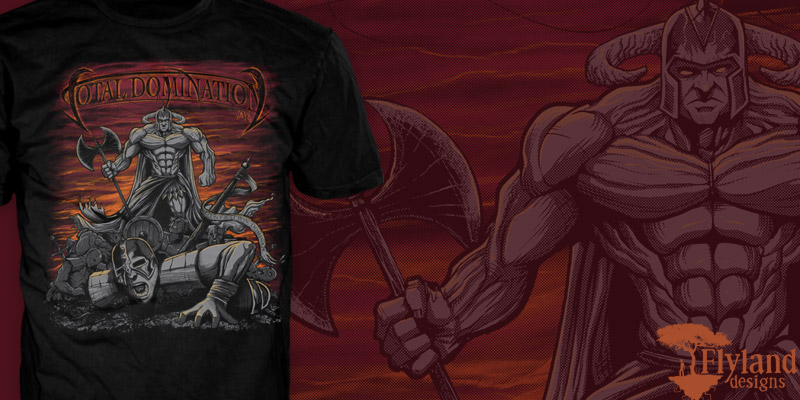 T-Shirt illustration of a warrior on top of a pile of bodies
