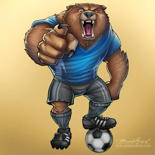 Mascot illustration of an angry soccer-playing bear. Created for Great Dane Graphics using Manga Studio 5 and Adobe Photoshop