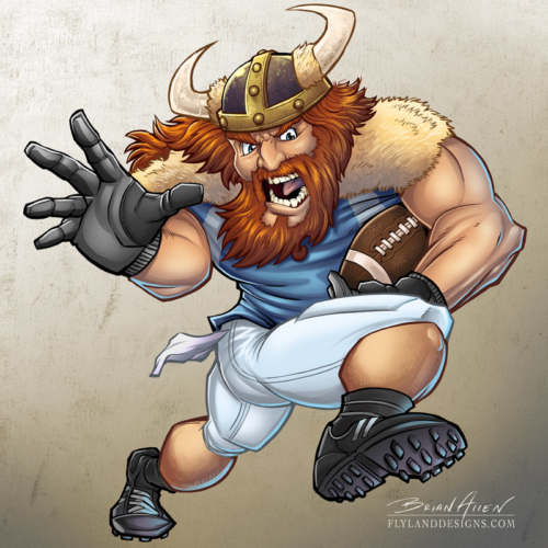 Mascot illustration of a viking playing football. Created for Great Dane Graphics using Manga Studio 5 and Adobe Photoshop