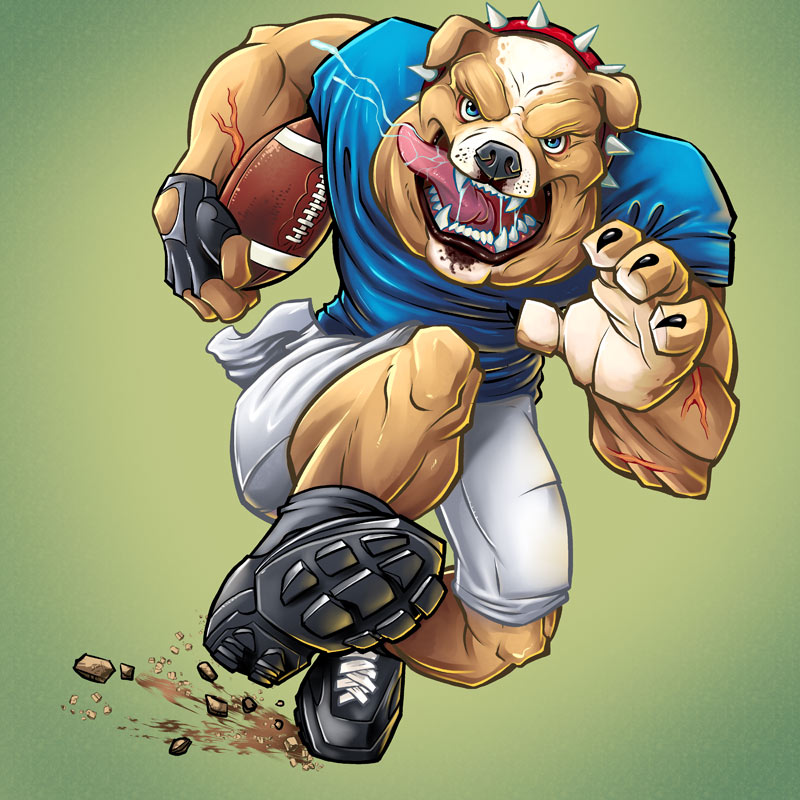Mascot character design of a bulldog playing football