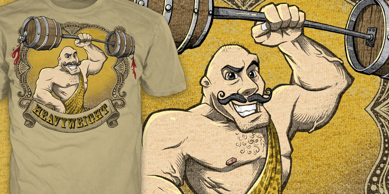 T-Shirt illustration of a classic weight lifter T-Shirt view