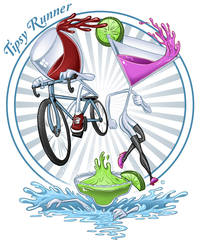T-Shirt illustration of a wine glass, margarita glass running a triathalon