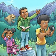 Book cover illustration of kids exploring