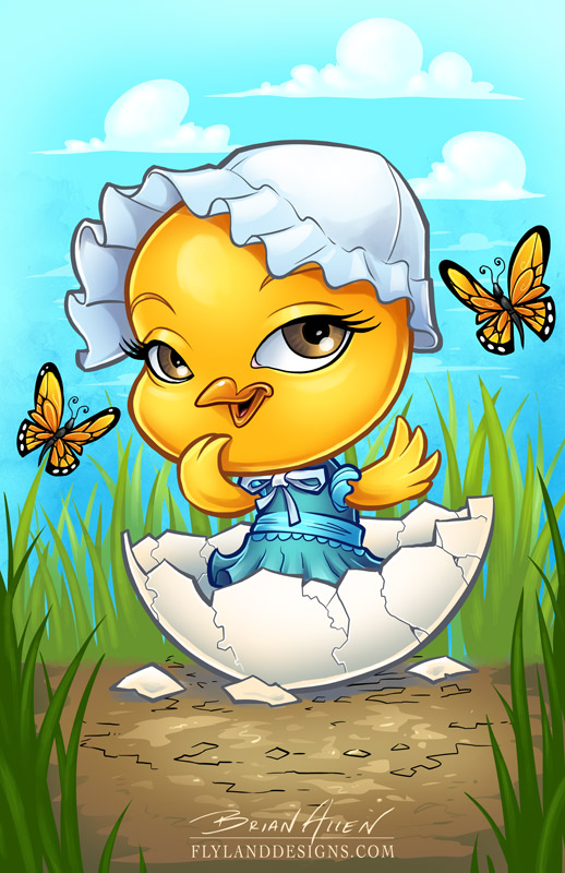 Illustration of a baby chick hatching from an egg