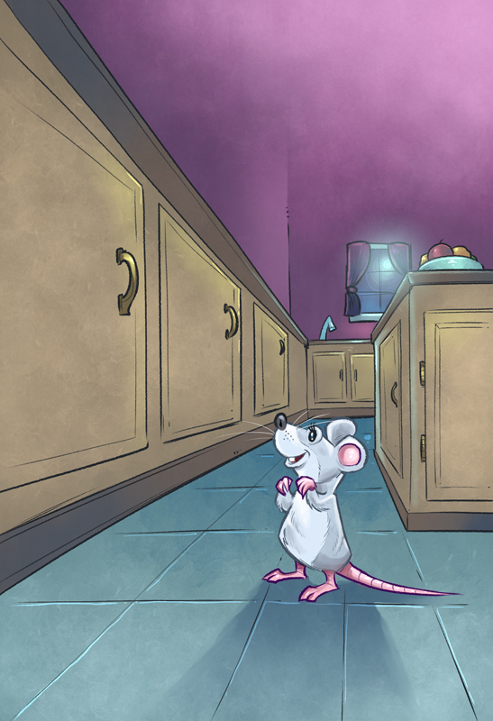 Children's book illustration of a mouse in a kitchen