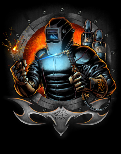 Illustration for Revco BSX, featuring a welder emerging from a fiery vault. Revco specializes in apparel for welders. This design was created for a direct-to-garment printing process.