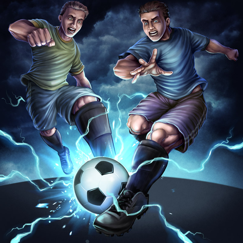 Illustration of two teens playing soccer