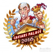 Russ logo of a cartoon Julius Caesar standing in front of a Caesar's Palace