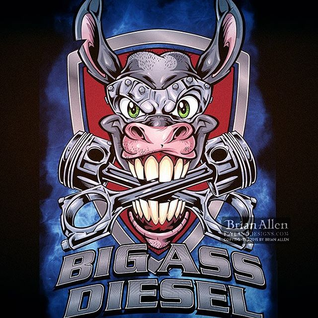 I illustrated this #mascot for a new #trucking #apparel brand called #BigAssDiesel. We thought it would be cool to make the Donkey part machine with glowing eyes. I created this as a vector graphic in #Adobe Illustrator so we could blow this thing up on the side of some of their trucks. ⠀#mangastudio #photoshop #illustration #tshirt #art #instaart #instaartist #picoftheday #igdaily #followme New Artwork From Instagram
