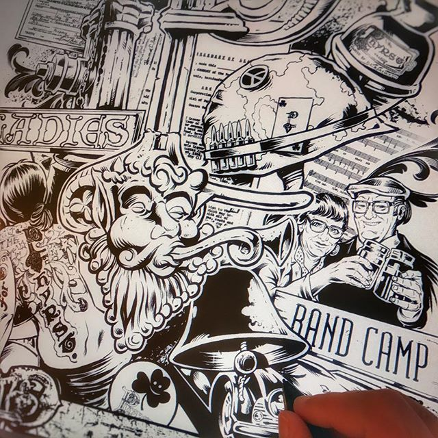 #Inking a #MONSTER detailed #poster for a #documentary being made about the legendary #bar in my hometown called The #Phyrst.⠀Illustrated by Brian Allen, FlylandDesigns.com⠀#tshirt #mangastudio #photoshop #illustration #art #instaart #instaartist New Artwork From Instagram