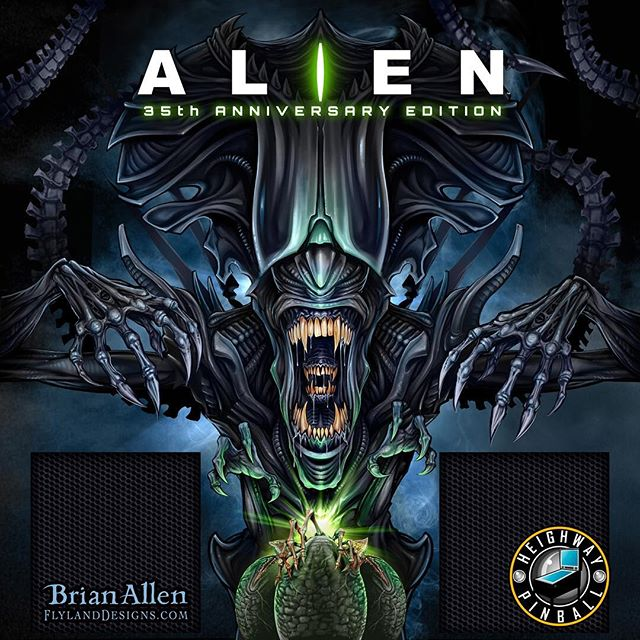 I can FINALLY post this! Official Alien illustration I created for the backglass of the new Limited Edition Pinball Machine licensed from 20th Century Fox and built by Heighway Pinball!!! Exclamation points!!⠀We had to turn this around on a super quick deadline, racing to release the artwork on Alien Day in 2017. HR Giger, the genius behind the Alien creature concept, was one of my very first artistic inspirations when I was a kid, so it was a great compliment to be able to play around in his shadow a little.#pinballart #pinball #alienpinball #alien #giger #backglass #heighway New Artwork From Instagram