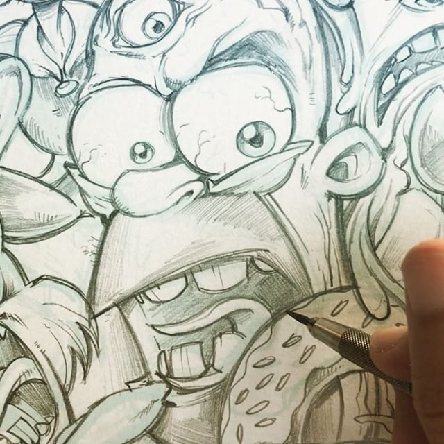 Fun homage illustration I'm doing of my favorite cartoon characters of all time!#homer #beavis #popeye #mickey #stimpy #bugs New Artwork From Instagram