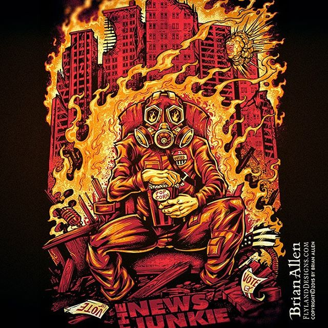 #TheNewsJunkie website hired me to create this #tshirt #illustration of the 2016 #election - which can be summed up as a guy in a gas mask eating popcorn watching the world burn around him. ⠀Not exactly optimistic - but we wanted to do something a bit tongue-in-cheek for all of us that can't help but enjoy the chaos just a little. What else can you do? Set up for limited color silk-screen in Manga Studio.#tshirt #gasmask #art #silkscreen #shitsgoingdown