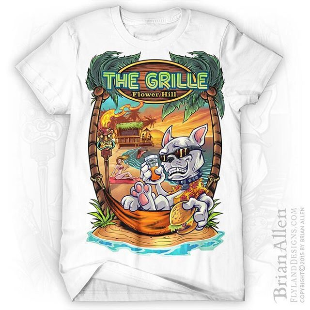 T-Shirt and character design illustration I created for the beach resort restaurant The Grille. The client wanted a French Bulldog character designed to represent the brand, and we plan on creating a line of apparel and marketing materials with the character in different situations. This design was created for full-color direct-to-garment printing.⠀#art #illustration #tshirt #beach #freelance #FlylandDesigns