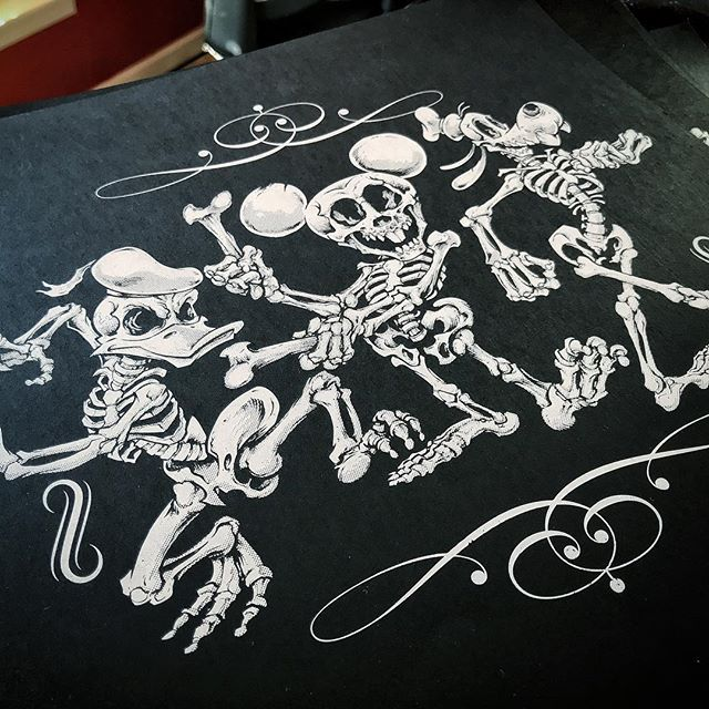 """Hey Guys! I am excited to present my first ever silk-screen print of my Disney Skeleton Parody artwork! Iconic Silkscreen did an excellent job - one color on thick textured black paper 12.5"""" square. I'm only printing 50 of these things - thanks in advance for checking them out - really hope to get these things out there so I can screen more artwork!⠀Get it here: https://www.flylanddesigns.com/shop/#silkscreenprint #silkscreenart #disneyart #halloweenart #skeleton #skullart"""