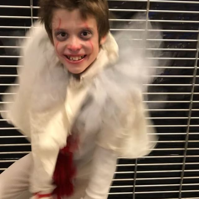 """Michael just won """"creepiest costume"""" at the mall! Nice job Mim making the penny wise costume #pennywise #it #costume"""