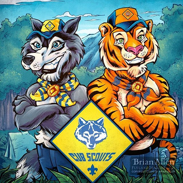 I was thrilled recently to work with #BoyScouts Of America illustrating their Bear, Wolf, and Tiger #mascots for a catalog that went out to all troops nationwide. We created illustrations that blended real studio photos of kids in Boy Scouts gear, and drawn into a comic book background. The marketing team hired me to reinvent the existing mascot illustrations in my own style. I was a Cub Scout long ago, so it was a lot of fun to leave a little mark on the organization. ⠀#mangastudio #photoshop #illustration #tshirt #art #instaart #instaartist #picoftheday #igdaily #followme