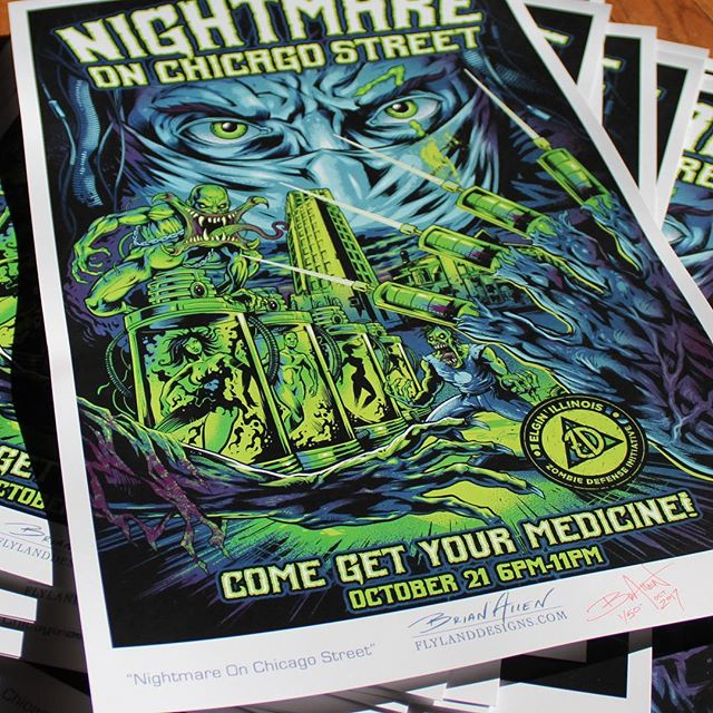 I have a few of these prints left over from the @nightmareonchicagostreet event I designed - please pick one up in my shop.I am excited about how they turned out! #halloween #artprint #nocs #nightmareonchicagostreet
