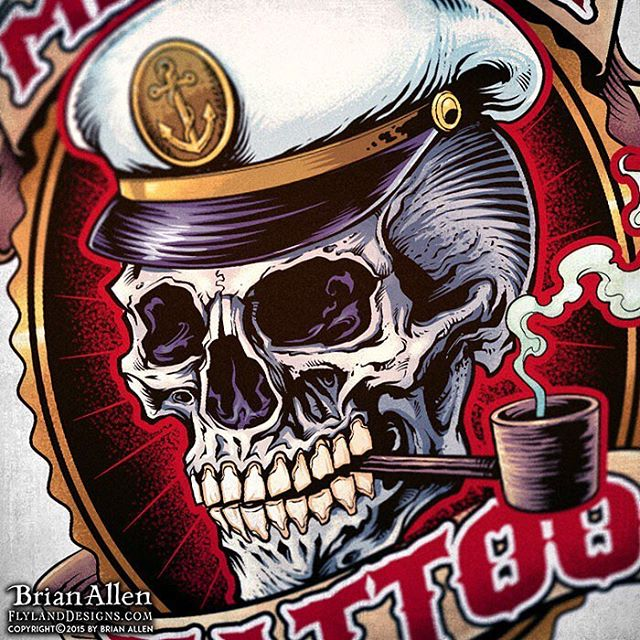#Sailor #Skull #Logo I created for the #MileHigh #Tattoo shop. The shop approached me with an out-dated logo that they wanted revamped, and we came up with these two separate illustrated logos that fit their classic sailor vibe.⠀Illustrated by Brian Allen, FlylandDesigns.com⠀#mangastudio #photoshop #illustration #tshirt #art #instaart #instaartist #picoftheday #igdaily #followme