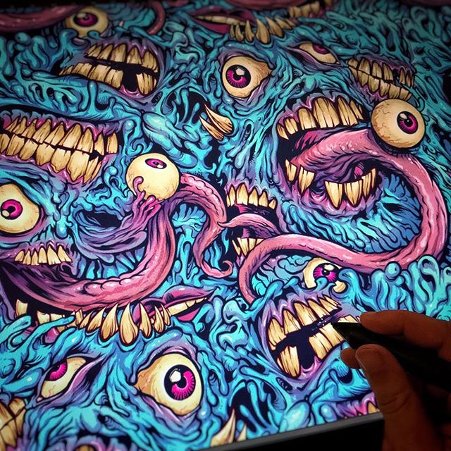 Thanks for all the postive feedback on my #eyeballs and #teeth #pattern design - it was extremely challenging drawing this in a way that would repeat seamlessly. You can grab it on shoes and phonecases and stuff at https://www.rageon.com/a/users/TheArtofBrianAllen #alloverprint #monster