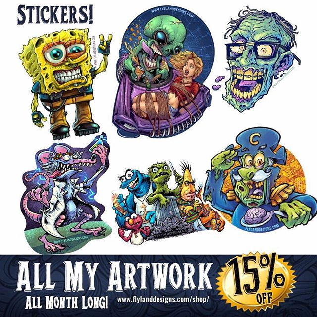 Did you know that I also sell my artwork on stickers? These were created by the kind folks at Vinyl Disorder - all 15% off this month, please check it out! https://www.flylanddesigns.com/shop/