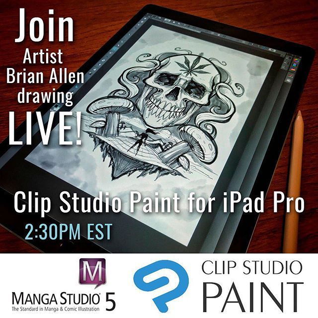 Hey everyone, I am going to be going live and reviewing Clip Studio Paint for the ipad pro at 2:30 pm eastern