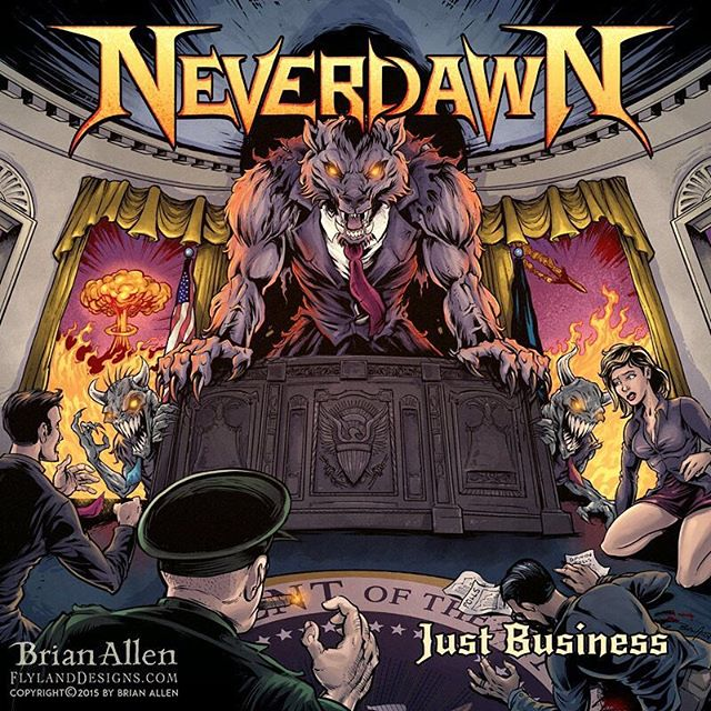 This is one of my favorite #albumcovers I've ever illustrated - I did this for the band #Neverdawn - and relax, this was done before the recent election, so no political statements here. Unless you believe that the US government is run by werewolves, then yes.Illustrated by Brian Allen, https://www.flylanddesigns.com/#werewolf #heaveymetal #mangastudio #photoshop #illustration #tshirt #art #instaart #instaartist #picoftheday #igdaily #followme
