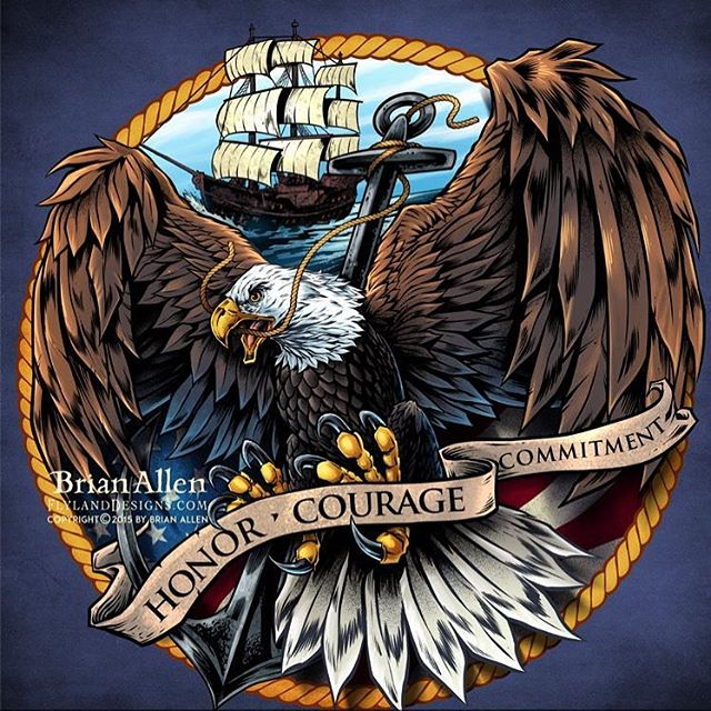 #Illustration of an angry and intense #eagle in front of an American flag in front of a shield similar to the #navy emblem I created for decals and apparel.Illustrated by Brian Allen, https://www.flylanddesigns.com/#patriotic #mangastudio #photoshop #illustration #art #instaart #instaartist