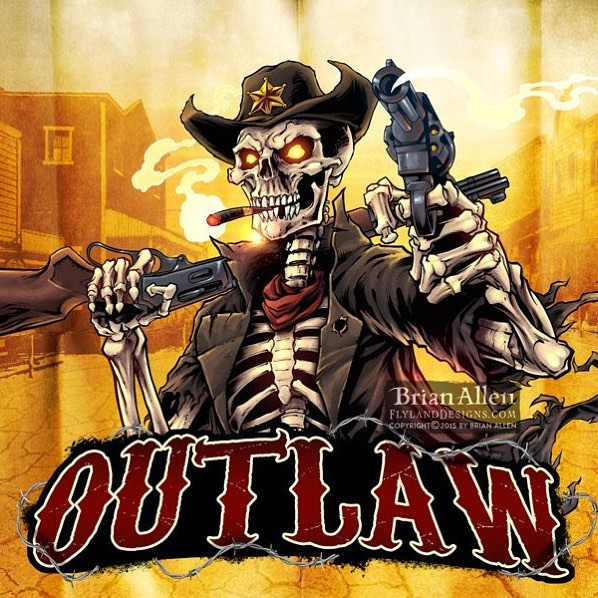 #Logo design I created for a #Twitch channel of an #outlaw #skeleton, drawn in Manga Studio.Illustrated by Brian Allen, https://www.flylanddesigns.com/#tshirt #mangastudio #photoshop #illustration #art #instaart #instaartist