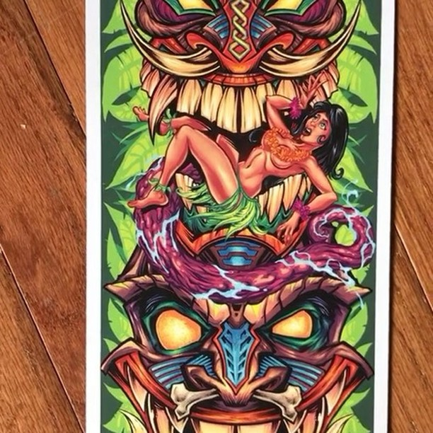 Thanks for all the great feedback on my Tiki skate deck design - I just picked up these prints - colors turned out great - pick one up in my shop for $15 https://www.flylanddesigns.com/shop/ #skateboardart #tikiart #artprint #beachart