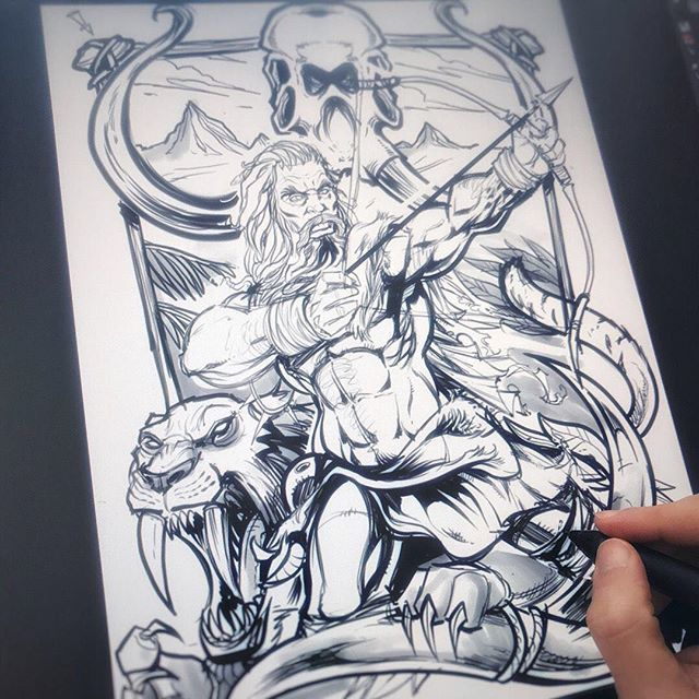 Really enjoying working on this caveman composition for a client - can't wait to ink this! #caveman #sabertooth #art #mangastudio #clipstudiopaint #illustration #tshirtdesign #freelance #hire