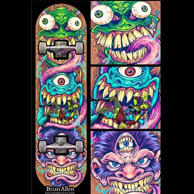 Happy to share the third and final illustration for my totem skate deck series. Thanks so much for all the positive feedback on the others! Now off to see if there's a skate deck company out there interested in printing these. #skateboardart #monsters #80sart #mangastudio #clipstudiopaint #illustration #tshirtdesign #freelance #hire