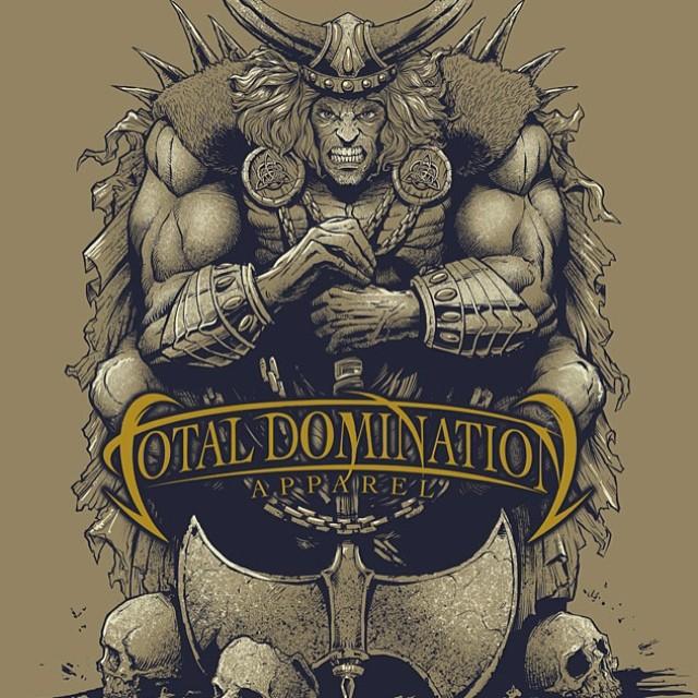T-shirt illustration of a Viking on skulls for Total Domination Apparel.