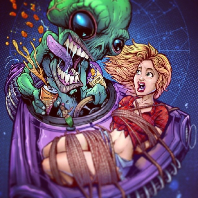Alien gets some take-out.  Something I dre last year, planning on making stickers of it.#art #illustration #tshirtartists #tshirt #graphic #alien #comics #picoftheday #instalike #follow #TagsForLikes #instaart #drawing #creative #redneck #redneckgirl #abduction #ufo