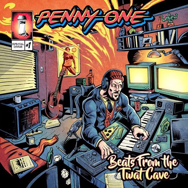 Album cover I illustrated for @pennyone, inspired by a sort of pulp graphic comic book style that was pretty new for me. I really enjoyed working with Alex (whose likeness is at the computer mixing) - always fun to work with other creatives. #albumcover #pennyone #graphicart #popcomics