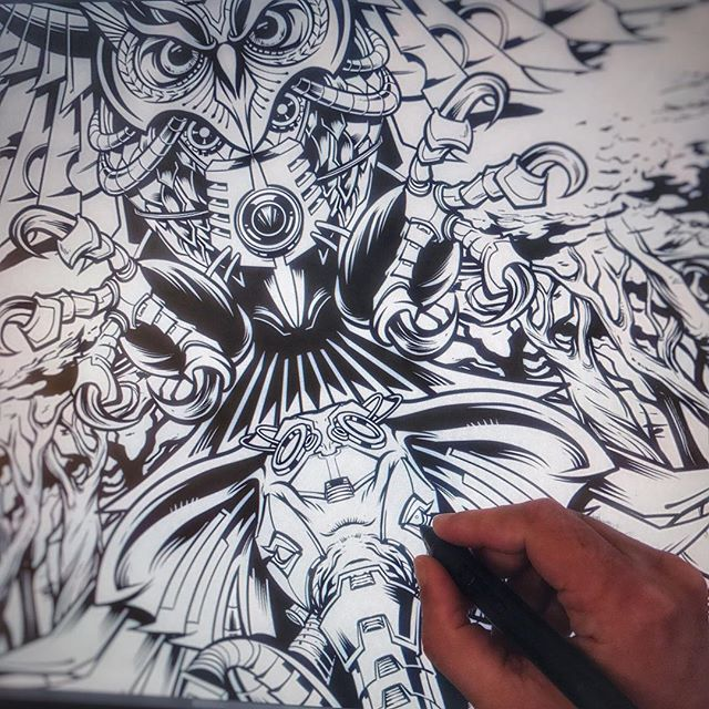 Adding mind-frying detail on this #psychedelic tapestry illustration for a favorite client of mine. #sketch #hire #tapestry #owltattoo #elephantart