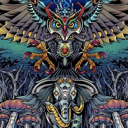 This was a really fun, trippy, and detailed illustration I created for @wazshop_ of a mechanical elephant and owl for a line of all-over print apparelto be sold at festivals and concerts. #hire #tshirtdesign #tapestry #owltattoo #psychedelicart