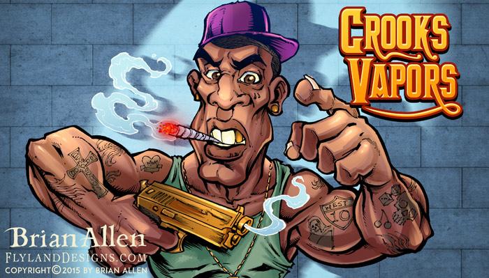 Criminal Character Art for Vaping Label Design