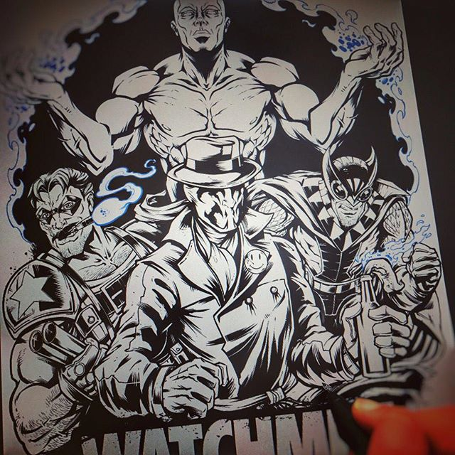 Inking a #Watchmen #fanart piece - as a kid, this was the first graphic novel I ever read, and I still go back and flip through it every couple years. Masterpiece. #sketch #wip #pencildrawing #concept #illustration #freelanceartist #hire