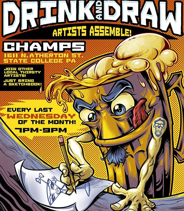 Hey everyone, I'm really excited to announce that me, Jeremy Bratton, and Melissa Hombrosky are organizing a monthly Drink and Draw event at Champs Bar and Grill in State College PA! Any local artists of any skill level are welcome to come out and meet other artists! Please help us spread the word! More info at https://www.facebook.com/drinkanddrawsc