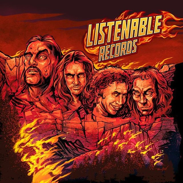 Tribute illustration I created last year to the heavy metal legends #Lemmy, #CliffBurton, #RonnieJamesDio, and #BonScott carved into Mount Rushmore (mount Rockmore because we're clever) for @listenable_records new sampler #albumcover. #art #mangastudio #clipstudiopaint #illustration #tshirtdesign #freelance #hire