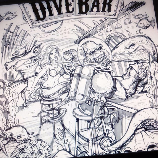 Pencil #sketch for one of my favorite illustrations from last year of an underwater #dive bar drawn in #clipstudiopaint #art #mangastudio #clipstudiopaint #illustration #tshirtdesign #freelance #hire
