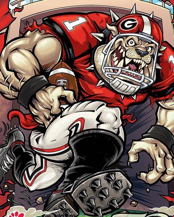 Really excited to finally share this series of illustrations I did for the University of Georgia and Chick-Fil-A for a pop-up restaurant and nationally televised commercial we created last year for the Georgia v. Auburn game. More to come on this! #georgiafootball #georgiabulldogs #chickfila #rivalrestaurant #mascotdesign