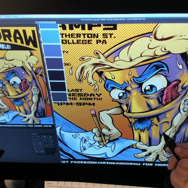 The first Drink and Draw is tomorrow night! Here's a speed video showing how I created the artwork for the poster in Clip Studio Paint. Getting really excited to see who turns out tomorrow! #ClipStudioPaint #wacomcintiqpro #drinkanddraw #champssports
