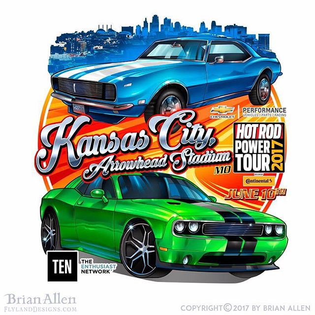 Custom #TShirtdesign I created for the #HotRod Power Tour #KansasCity 2017. Always a fun challenge to draw cars, which can be very hard to get right. I had to us a lot of reference photos for this one to get the details of the models just right (or close enough anyway). #art #mangastudio #clipstudiopaint #illustration #freelance #hire