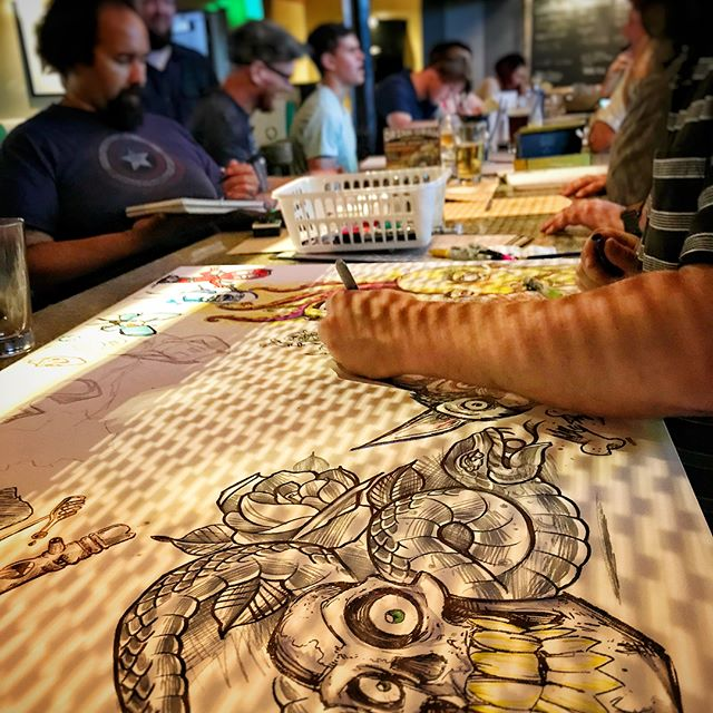 I'm really happy to report that our first #DrinkandDraw in State College for local artists was a success! We had 20 artists emerge from their caves and socialize, draw, and drink! Thank you everyone who came out and helped promote the event. We're excited about making this a regular thing, and expanding it. #champssportsgrill #drinkanddrawsc #localartists #statecollegepa
